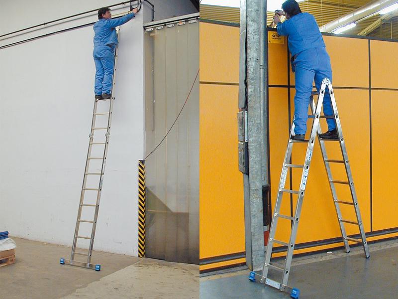 Двухсекционная шарнирная лестница с перекладинами