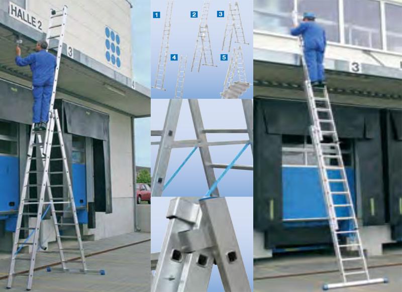 Универсальная лестница-трансформер с перекладинами, трехсекционная