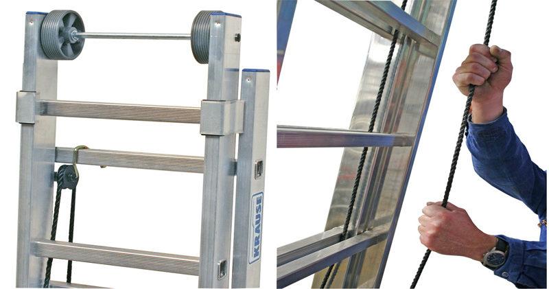 Двухсекционная лестница с перекладинами, выдвигаемая тросом