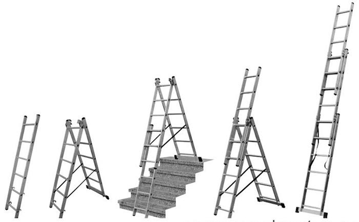 Универсальная алюминиевая лестница с функцией лестничных пролетов
