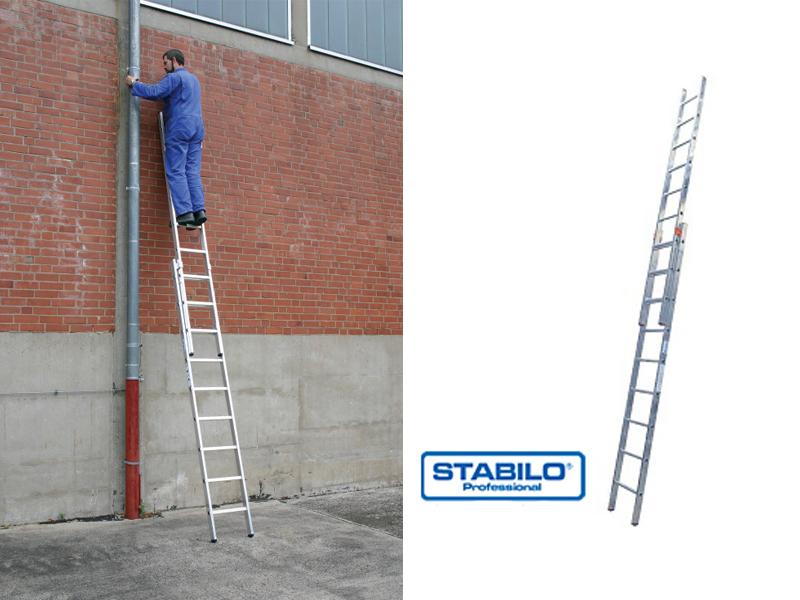 Двухсекционная раздвижная лестница с перекладинами