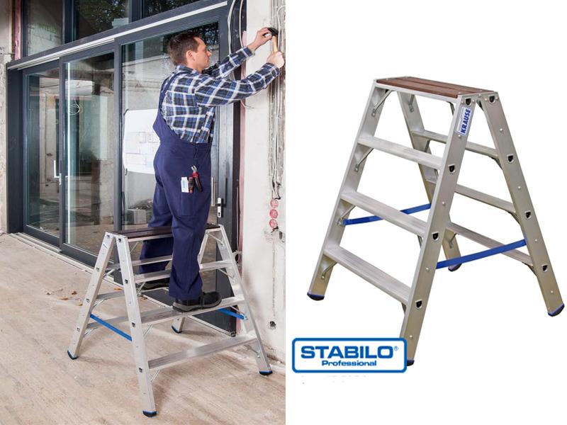 Двухсторонняя лестница-стремянка с деревянной площадкой
