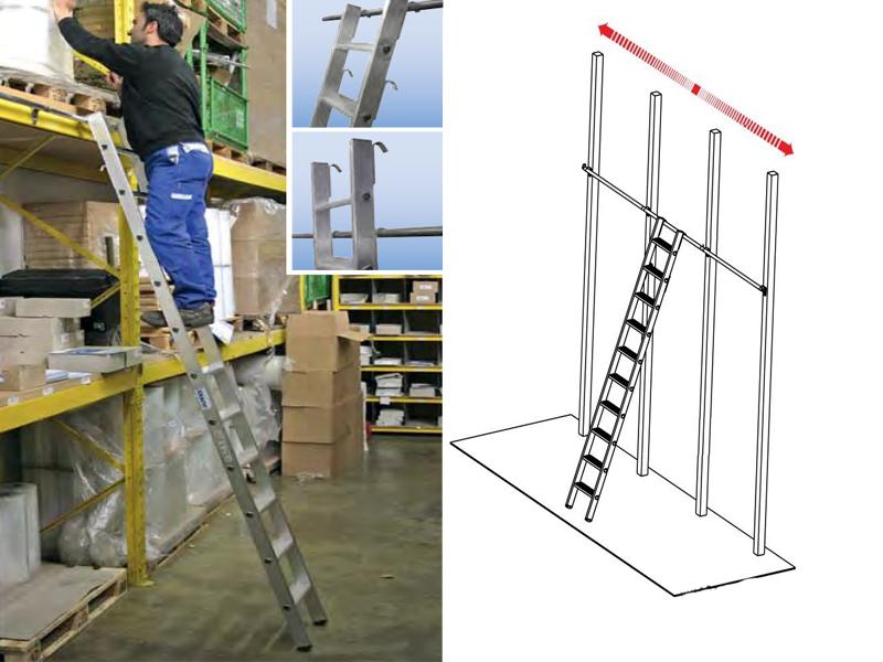 Навесная стеллажная лестница со ступенями