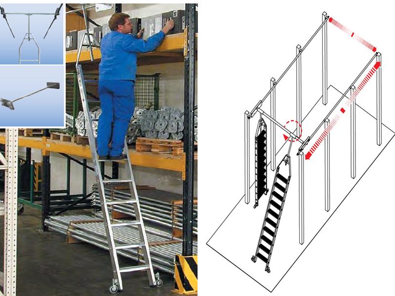Стеллажная лестница со ступенями, для двухрядных стеллажей