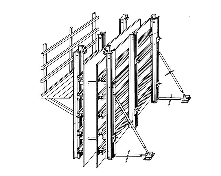 Схема крупнощитовой переставной опалубки