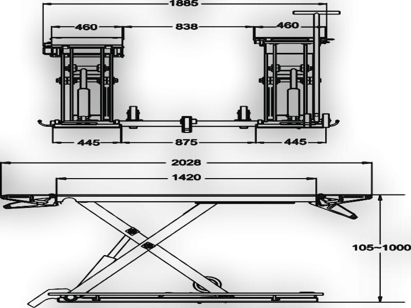 Ножничный подъемник с двумя платформами